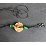 sautoir bouton bois perles vertes