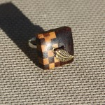 bouton bois et feuille