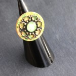 bouton bois vert cabochon