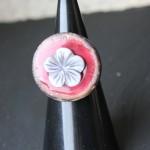 bouton coco rouge fleur nacre