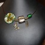 collier perles verre vertes