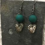 boucles perle verte poule