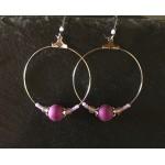 créoles perle violette