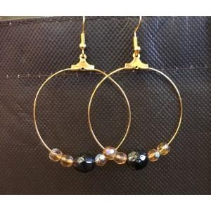 créoles dorées perle noire
