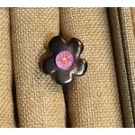 bague céramique grise centre fleur