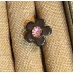 bague céramique grise centre rose