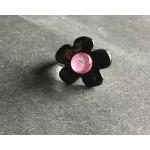bague céramique noire rose