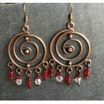boucles spirales perles rouges